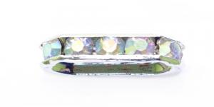 Hõbedane piklik riputis/vahedetail AB- läikega kivikestega / 18 x 7 x 4mm / EL29