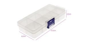Plastmassist (PP) läbikumav säilituskarp, 8 lahtrit, lukustatav, 13,5 x 6,5 x 2,5 cm, KL1742