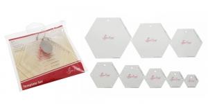 Kuusikulmiot-sapluunat tilkkutöihiin, 8 kpl, SewEasy NL4160
