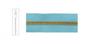 1701NI, Metallivetoketju, umpiketju, pituus 21cm-22cm, 6mm hammastus, vaalea turkoosinsininen, nikkelipinnoite metalliosissa