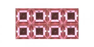 WH33 10mm Heleroosa, läbipaistev kandiline akrüülkristall, 8tk