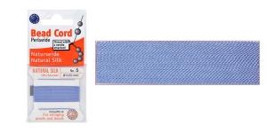 100% Silk Beading Thread, #5; ø0,65 mm, 2 m, color: blue, Beadalon JH05S-BLUEX-C