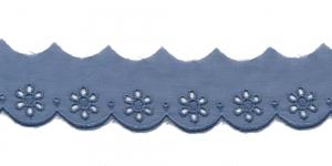 Luksuslik tikitud broderiipits laiusega 35mm I591-V3, Värv: Hallikassinine