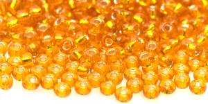 Terahelmed, seemnehelmed, Nr.5 (4,3-4.8mm), Preciosa Oranžid läbipaistvad hõbedased, läikivad kandilise auguga HI8