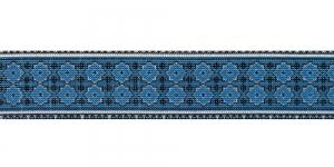 Trükitud mustriga kummipael 30mm / Elastic Band / Värv 633-K Sinine ornament, valgel taustal