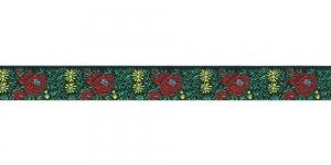 Lillekimpudega dekoratiivpael, laiusega 15 mm, värv 3N NERO, Art. 22109