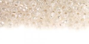 Terahelmed, seemnehelmed, Nr.6 (3.7-4.3 mm), Preciosa Värvitud, läbipaistvad, AB- kattega, hõbedase, läikiva auguga, HL17