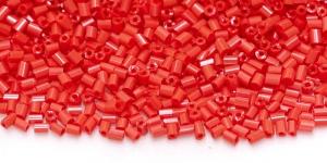 DH39a 2,5-2,8mm Punased kuuetahulised läbipaistmatud toruhelmed