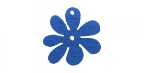 Lillekujuline sinine puitdetail / Blue Flower Pendant / 25 x 2mm / IO162
