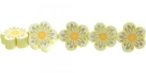 CE35_3 14x6mm Kollasekirju lilleline polümeersavist helmes