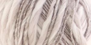 Metallikuga efektilõng Jamalia, Austermann, värv nr. 1, kreemjasvalge helebeežiga