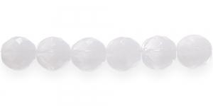 LH1C Ümar tahuline klaaspärl, Tšehhi, 14mm, Valge piimjas