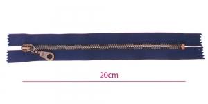 1653OX, Metall-tõmblukk pikkusega 20cm, 6mm antiikpronks hammastikuga, tume sinine