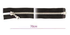 Alt avatav 8mm hammastikuga metall-tõmblukk, must, nikkelhammastik, pikkus 70cm