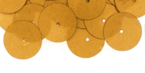YB97 / Flat Circle Sequins, 1 Center Opening / Matte Gold / ø14mm