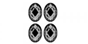 WF4 23x17mm Tumehall, ovaalne tahuline akrüülkristall, 4tk