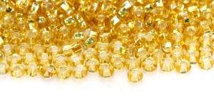 Terahelmed, seemnehelmed, Nr.6 (3.7-4.3 mm), Preciosa Kuldsed läbipaistvad hõbedase, läikiva auguga, HG82