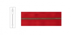 3890OX, 6mm hammastikuga metall-tõmblukk pikkusega 19cm-20cm, puhas punane, antiikpronks hammastikuga