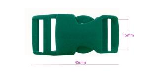 Plastikust pistlukk 45 mm x 21 mm, rihmale laiusega 15 mm, tumeroheline, UG7