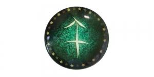 25mm Rohelisekirju dekoraatiivkivi, Ambur/Sagittarius, KM156-A