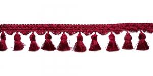 Soliidne kaunistuspael tupsudega tuttidega, üldlaiusega 10cm, värv tumedam punane