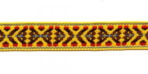 Rahvusliku ornamendiga/ Lace 2,5cm; Kollase, pruunikirju 9453000