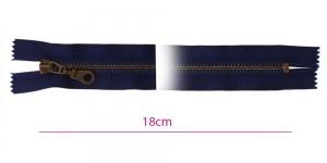1683OX, Closed end Metal Zippers, zip fasteners, 18cm, color: dark blue, navy, member width: 6mm antique brass
