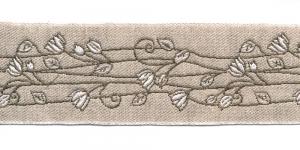 Pool-linane lillemustriga pael Art.815PG laiusega 50mm valgete õitega, Värv 1