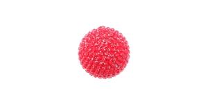SV326BF166 10 mm, suurus: 16L Punane sädelev lillekujuline kannaga plastiknööp