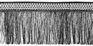 Võrgulise servaga õrnad narmad pikkusega 25 cm, värv must, 2