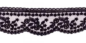 Õrn tüllile tikitud äärepits laiusega 9 cm, WT-30693, värv must
