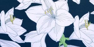 Tumesinine, valgekirju lillemustriga trikotaaž, 160cm, D6109A