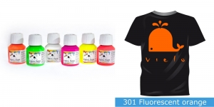 Fluoresseeruv kangavärv Fabric Paint Fluorescent, 50 ml, Vielo, Värv: oranž, #301 Fluorescent orange
