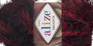 Karvane dekoratiivlõng Decofur, Alize, värv nr.1381, punane mustaga