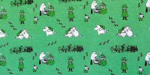 Puuvillane elastaaniga trikookangas, roheline, kirju mustriga, 152cm