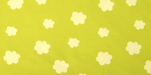 Puuvillane elastaaniga trikookangas kangas Valge muster, rohelisel taustal 3003/128.052