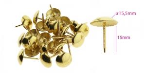 Polstrinaelad, dekoratiivnaelad, kübara ø15,5 mm, pinnakate: kuldne, 25 tk, KL0335, PB32
