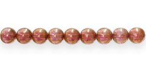 LN360 Ümar klaaspärl, Tšehhi, 10mm, Punakaspruun läbipaistev metallik läikega