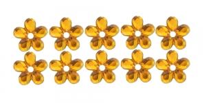9mm Kuldkollased, lillekujulised õmmeldavad dekoratiivkivid WM26