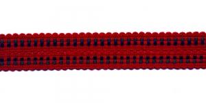 Kootud dekoratiivpael laiusega 3,5cm, värv: punane sinise/rohelisega