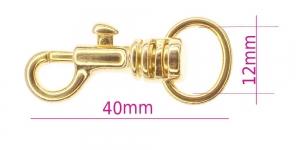 Karabiinhaak 40 mm, hole ø12 mm, VMP MS87/TA-G, pinnatud: läikiv kuldne, SHx10
