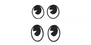 SS47 3 x 2,2 cm ja 3,5 x 2,2 cm Must-valged ovaalsed silmad, 2 paari