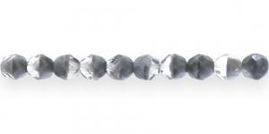 LO50 Ümar tahuline klaaspärl, Tšehhi, 8mm, Värvitu ja halli laiguline