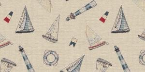 Gobeläänkangas purjekate ja tuletornide mustriga, BB86013-01
