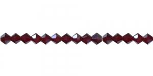 LR28 4mm Mustjaspunane, läbipaistev topeltkoonusekujuline klaashelmes
