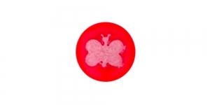 SD342/222D Punane, valge liblikaga plastiknööp