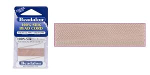 100% siidist niit, Nr.4; ø0,60 mm, 2 m, värv: roosa, Beadalon 104B-100