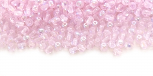 LN724 Ümar klaaspärl, Tšehhi, 3mm, Heleroosa 1/2 AB- kattega