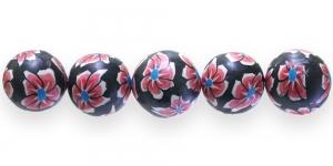 CE24 18mm Punamustakirju lilleline polümeersavist ümar helmes