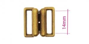 UC15, Metal Bra Lock, Bra fastener for 14mm strip, antique brass plating